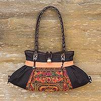 Leather accented cotton shoulder bag, 'Peach Phoenix' - Colorful Embroidered Cotton Shoulder Bag from Thailand