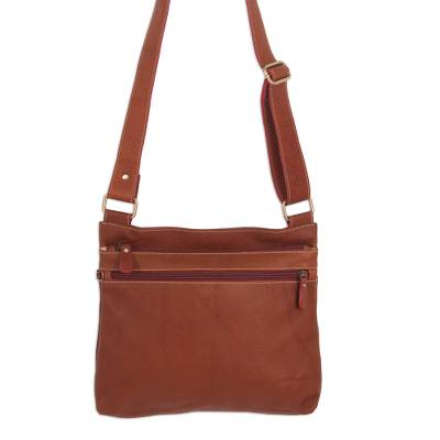 Handcrafted Thai Russet Brown Leather Shoulder Bag