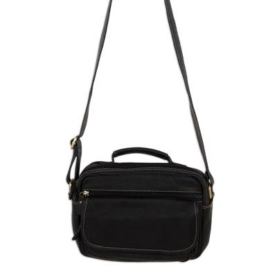 Compact Black Leather Handcrafted Unisex Shoulder Bag