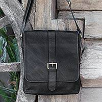 Leather shoulder bag, 'Entrepreneur in Black' - Handcrafted Thai Shoulder Bag in Black Leather