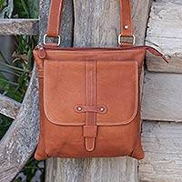 Leather shoulder bag, 'City Living' - Handcrafted Thai Brown Leather Shoulder Bag with 5 Pockets
