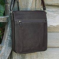 Leather messenger bag, 'Weekday Espresso' - Espresso Brown Leather Handcrafted Flap Messenger Bag