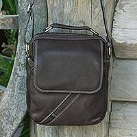 Leather shoulder bag, 'Voyager in Espresso Brown' - Thai Fair Trade Espresso Brown Leather Shoulder Bag