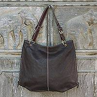Leather tote handbag, 'Expansive Brown'