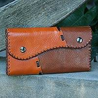 Light brown leather wallet, 'Cool Chiang Mai' - Light Brown Leather Wallet with Snap Closure