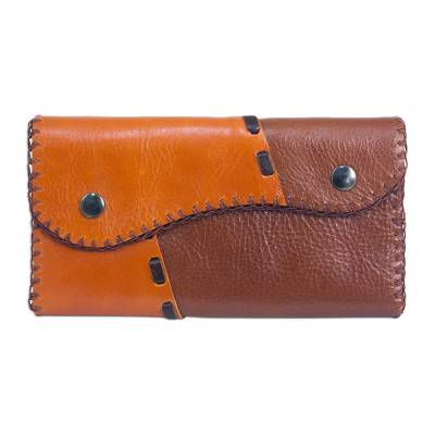 Light Brown Leather Wallet with Snap Closure