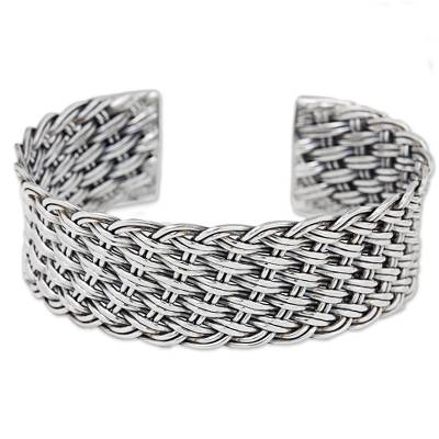 Thai Handcrafted Woven Sterling Silver Cuff Bracelet