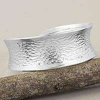 Silver cuff bracelet, 'Hill Tribe Curves' - Hammered Silver 950 Hill Tribe Concave Cuff Bracelet