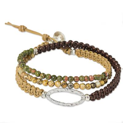 Jasper and Unakite Wrap Bracelet Leather Cord from Thailand