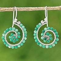 Quartz dangle earrings, 'Floral Spirals in Grassy Green' - Grassy Quartz Sterling Silver Dangle Earrings from Thailand