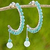 Quartz half hoop earrings,
