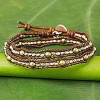 Cultured pearl and leather wrap bracelet,