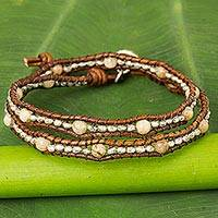 Jasper and leather wrap bracelet,