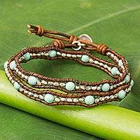 Serpentine and leather wrap bracelet, 'Hill Tribe Sunflower' - Thai Leather Dyed Serpentine Karen 950 Silver Wrap Bracelet