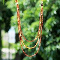 Multi-gemstone long beaded necklace, 'Orange Sunrise' - Slip-on Beaded Necklace with Carnelian Citrine and Quartz