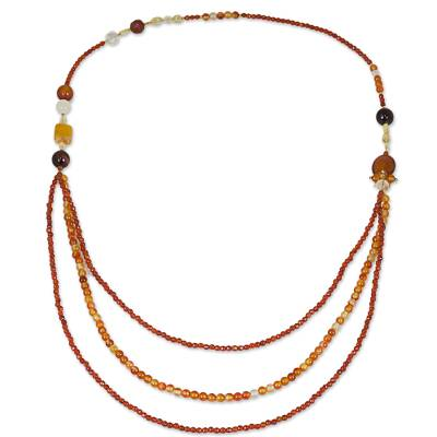 Slip-on Beaded Necklace with Carnelian Citrine and Quartz