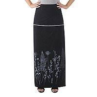 Cotton wrap skirt, 'Prairie in Black' - Cotton Black Wrap Skirt with Printed Prairie Grass Design
