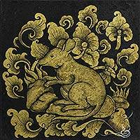 'Zodiac Rat' - Thai Zodiac Rat Signed Mixed Media Painting