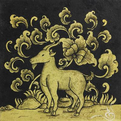 Black and Gold Mixed Media Signed Zodiac Goat Painting