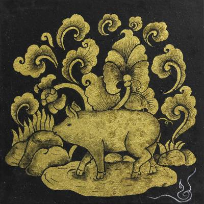 Black and Gold Mixed Media Zodiac Pig Painting from Thailand