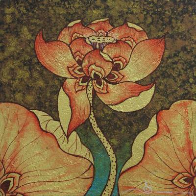 Golden Lotus Blossom Painting from Thailand