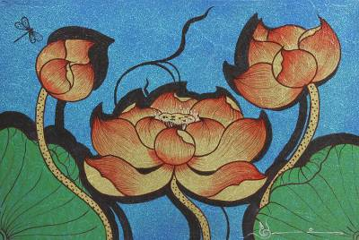 'Lotus and Dragonfly' - Signed Thai Dragonfly and Lotus Painting with Golden Accents