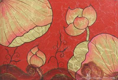 'Lotus Lake' - Mixed Media Golden Accent Lotus Painting from Thailand