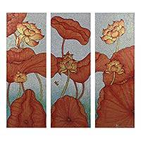'Lotus Paradise' (triptych) - Mixed Media Lotus Painting Triptych from Thailand
