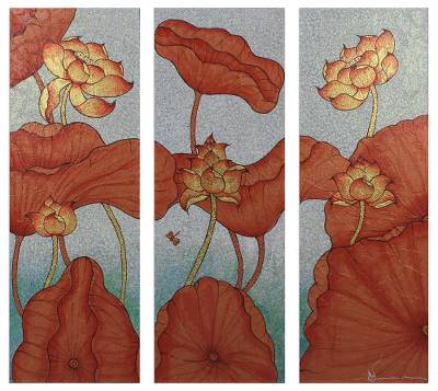 Mixed Media Lotus Painting Triptych from Thailand