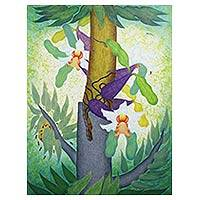 'Cattleya Impression ll' (2012) - Original Acrylic on Canvas Painting of Cattleya