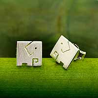 Sterling silver stud earrings, 'Block Elephant' - Brushed Finish Sterling Silver Elephant Stud Earrings