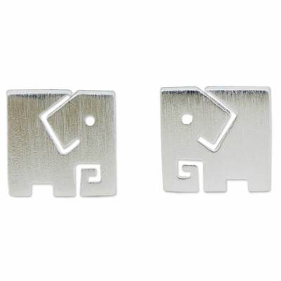 Brushed Finish Sterling Silver Elephant Stud Earrings