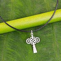 Sterling silver pendant necklace, 'Mandarin Cross' - Sterling Silver Pendant Necklace Cross from Thailand