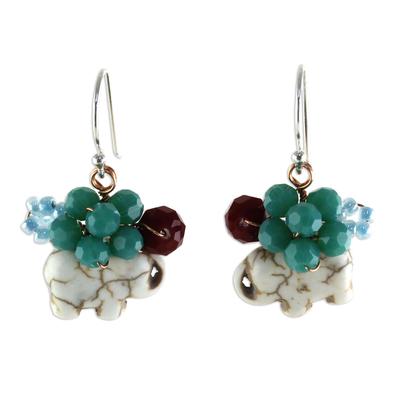 White Calcite and Glass Bead Elephant Dangle Earrings