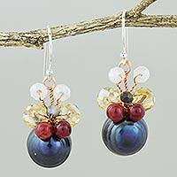 Featured review for Cultured pearl dangle earrings, Butterfly Party in Black