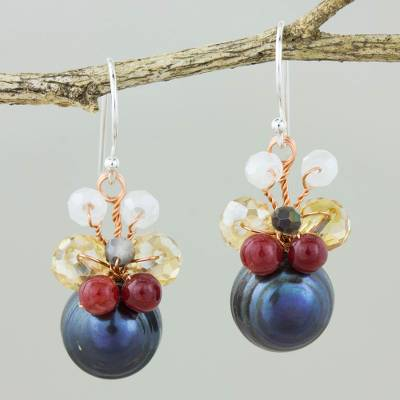 Cultured pearl dangle earrings, 'Butterfly Party in Black' - Black Cultured Pearl Dangle Earrings with Butterfly Motif