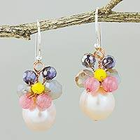 Cultured pearl dangle earrings, 'Butterfly Party in Pink' - Pink Cultured Pearl Dangle Earrings with Butterfly Motif