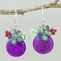 Quartz dangle earrings, 'Moonlight Garden in Purple' - Purple Quartz and Glass Bead Dangle Earrings with Copper
