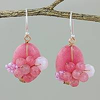 Quartz dangle earrings, 'Garden Bliss in Pink' - Pink Quartz and Glass Bead Dangle Earrings with Copper