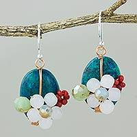 Quartz dangle earrings, 'Garden Bliss in Teal' - Serpentine Quartz and Glass Bead Dangle Earrings with Copper