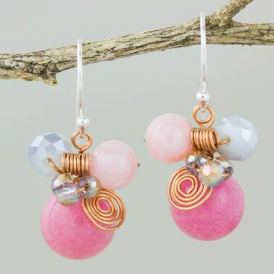 Quartz dangle earrings, 'Pink Bubbles' - Pink Quartz and Glass Bead Dangle Earrings with Copper