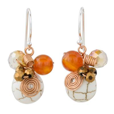 Calcite Carnelian and Glass Bead Dangle Earrings with Copper