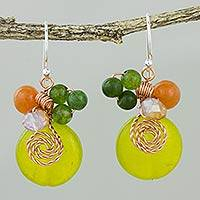 Quartz dangle earrings, 'Sweet Temptation' - Lemon Quartz and Glass Bead Dangle Earrings with Copper