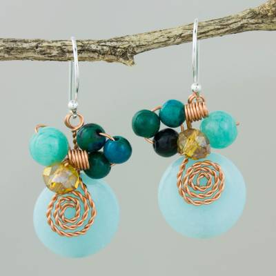 Quartz and serpentine dangle earrings, 'Moonlight Garden in Aqua' - Serpentine Quartz and Glass Bead Dangle Earrings with Copper