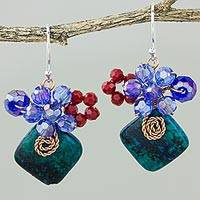 Serpentine dangle earrings, 'Natural Beauty in Teal' - Square Serpentine and Glass Bead Dangle Earrings with Copper
