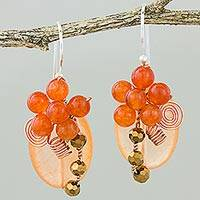 Quartz dangle earrings, 'Garden Bliss in Orange' - Orange Quartz and Glass Bead Dangle Earrings with Copper