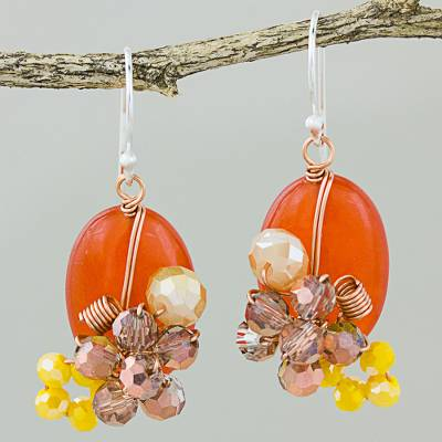 Quartz dangle earrings, 'Garden Bliss in Deep Orange' - Orange Quartz and Glass Bead Dangle Earrings with Copper