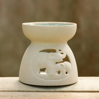 Ceramic oil warmer, 'Mother and Child Elephant' - Ceramic Oil Warmer with Elephant Carving from Thailand