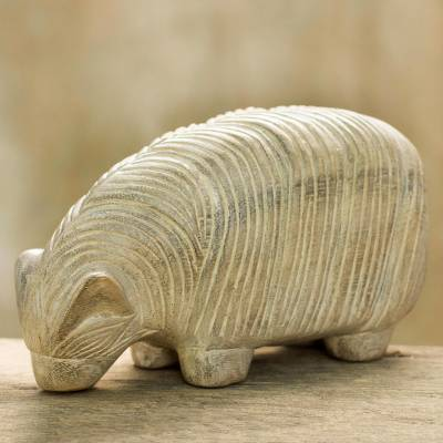 Wood sculpture, 'Grazing Sheep' - Hand Made Wood Sculpture of a Sheep from Thailand