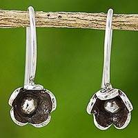 Silver drop earrings, 'Daisy Bud' - Karen Hill Tribe Silver Drop Earrings from Thailand